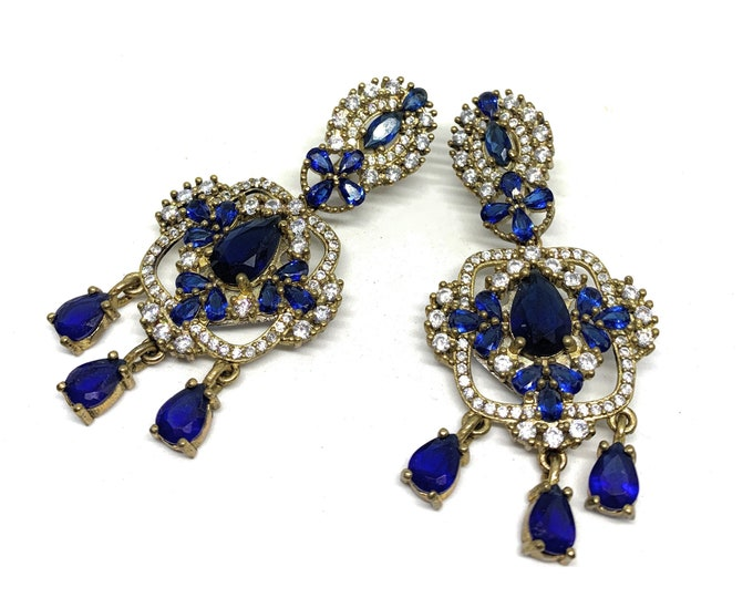 Blue sapphire chandelier earrings, glamour bridal accessory, unique natural stones dangle earrings, statement accessory