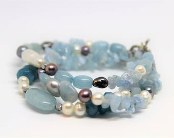 Aquamarine and pearl bracelet, multi strand beaded bracelet, perfect gift for her, elegant accessory, everyday accessory
