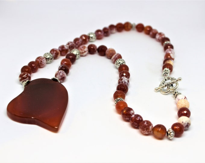 Red agate heart pendant beaded necklace, unique statement necklace, gemstone gift for women, Valentine's Day gift