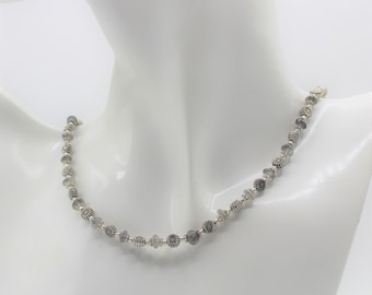 Dainty labradorite beaded necklace, delicate gray necklace, silver and gemstone necklace, beaded choker, unique gift for her