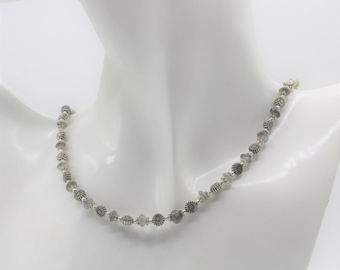 Dainty labradorite beaded necklace, delicate silver and gemstone strand, gray beaded choker, layering necklace, sweet sixteen gift