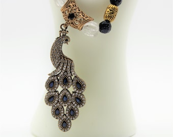 Blue sapphire peacock pendant necklace, beaded elegant necklace, gemstone statement necklace, glamorous long necklace