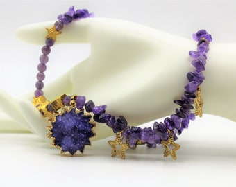 Purple amethyst beaded necklace, Druzy agate pendant, sun and stars necklace, unique colorful accessory, gift idea for her