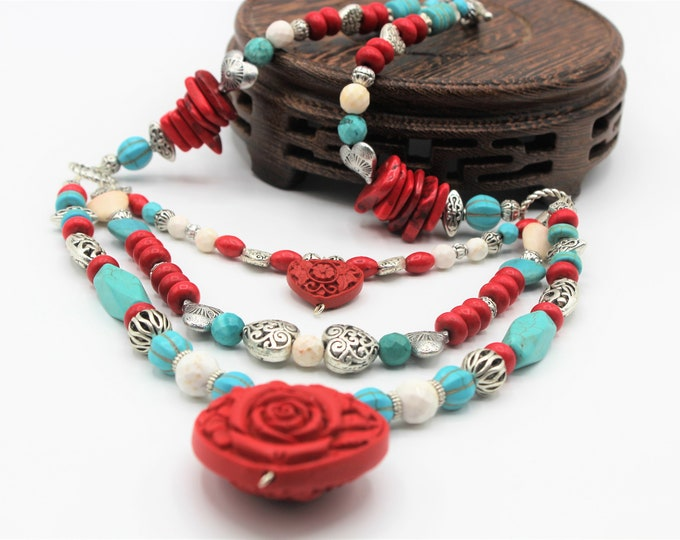 Heart motif beaded necklace, unique multi strand necklace, turquoise and cinnabar necklace, Valentine's day gift, colorful women accessory