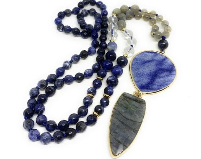 Long multi gem beaded necklace, hand knotted strand with double gem pendant, gray and blue elegant women accessory