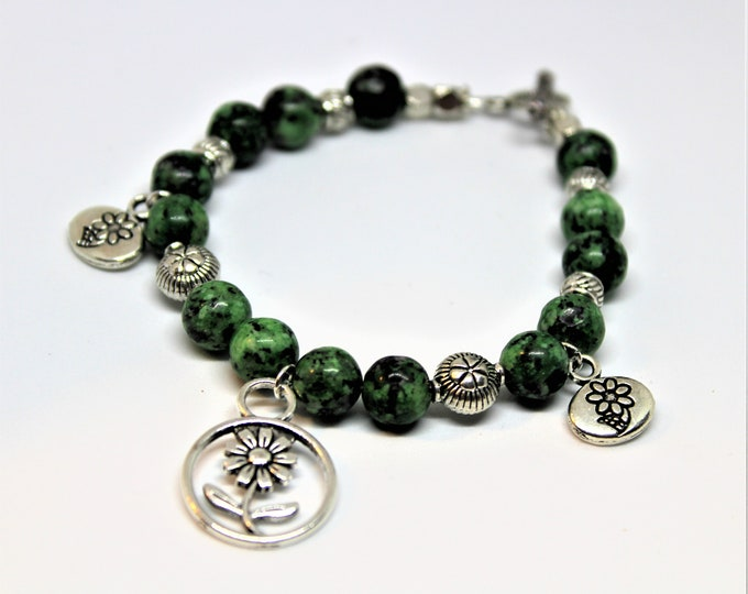 Ruby ziosite bracelet, beaded charm bracelet, gemstone stacking bracelet, elegant women accessory, unique gift idea for her, Boho chic