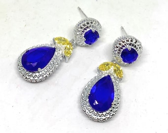 Blue topaz and citrine drop earrings, glamour dangle earrings, elegant bridal accessory, unique gift for her