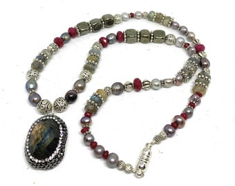 Gray and ruby gem beaded necklace, elegant strand with labradorite pendant, unique statement necklace, mother of the bride gift