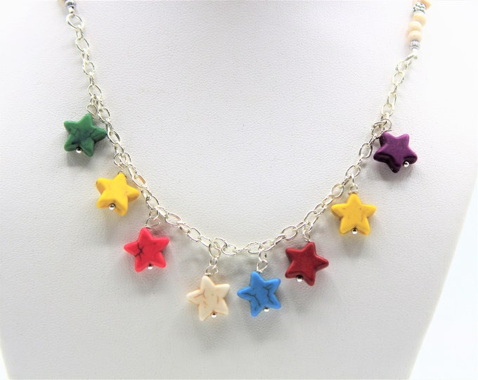 Multi color necklace, star pendant necklace, Valentine's Day gift, turquoise choker, colorful necklace, unique gift idea