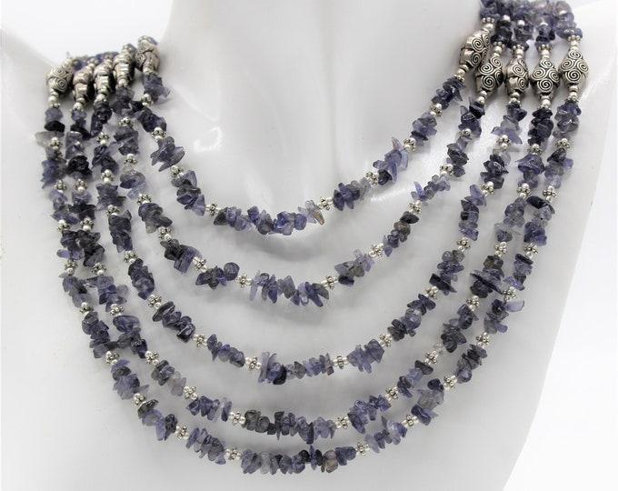 Blue iolite beaded necklace, elegant multi strand necklace, magnificent blue necklace,bridal statement necklace, unique gift idea for women
