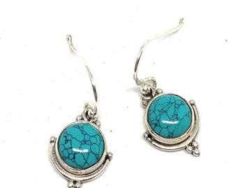 Dainty turquoise and silver drop earrings, SPECIAL OFFER, delicate turquoise dangle earrings, cute girls accessory, unique gift for her