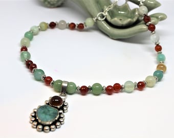 Multi stone necklace, red agate necklace, beaded necklace, pendant necklace, gift for her, colorful accessory