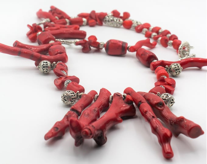 Red coral beaded necklace and earrings set, long coral statement necklace, dangling coral earrings and necklace set, coral & silver set