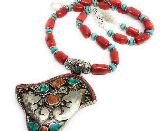 Long coral beaded necklace with whimsical pendant, turquoise and coral statement necklace, silver bird motif pendant necklace