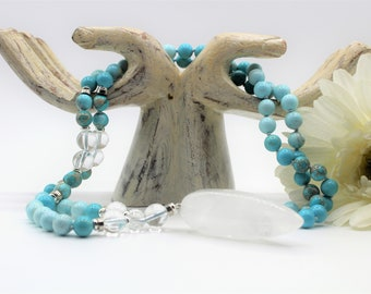 Turquoise jasper long beaded necklace, hand knotted Y necklace with quartz pendant, elegant layering necklace, unique gift for her