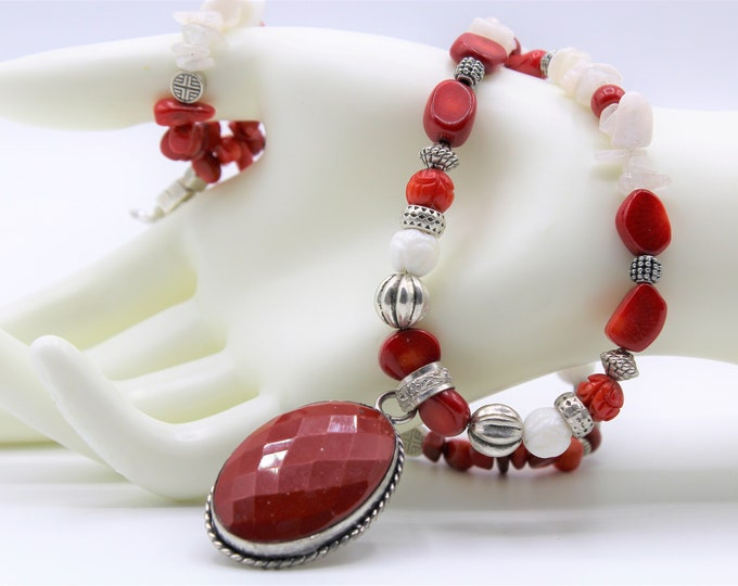 Red coral pendant beaded necklace, red and white long necklace, colorful statement necklace, unique gift idea in any occasion