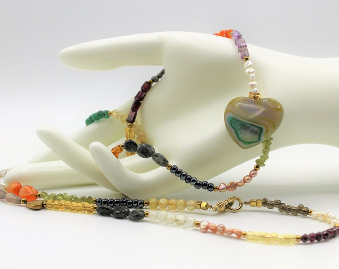 Natural gemstone heart delicate necklace, multi stone beaded necklace, multi color long necklace, Valentine's day gift, layering necklace