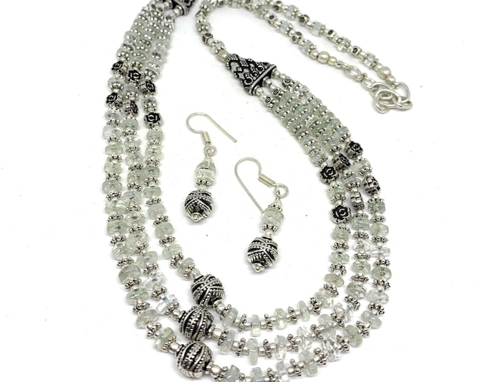 Moonstone multi strand beaded necklace set, elegant statement necklace and earrings set, unique gift for women, two piece bridal accessory