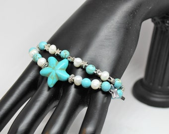 Plus size turquoise and pearl beaded bracelet, SPECIAL OFFER, beaded double strand bracelet, star motif bracelet, unique gift for her