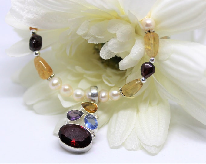 Multi gem pendant beaded necklace, colorful gemstone and pearl necklace, elegant all season accessory, unique gift for her