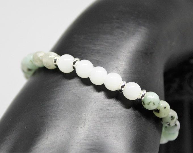 Delicate gemstone beaded bracelet, jasper and quartz stacking bracelet, gemstone layering bracelet, unique gift idea for her, boho chic