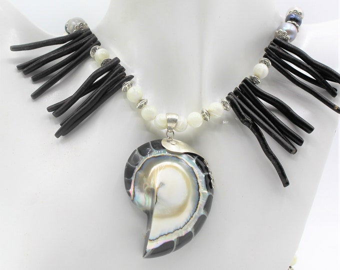 Black and white coral beaded necklace, nautilus sterling silver pendant necklace, pearl statement necklace, whimsical long necklace,