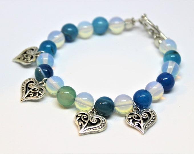Multi stone beaded bracelet, gemstone stacking bracelet, opalite and agate bracelet, heart charm bracelet, unique gift, stackable accessory