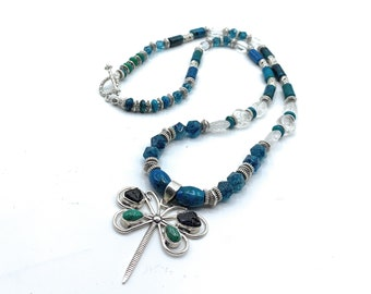 Silver butterfly pendant beaded long necklace, blue quartz and chrysocolla statement necklace, colorful women accessory, unique gift for her