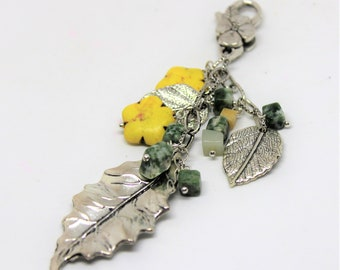 Flower purse charm, colorful purse dangle, yellow and green accessory, backpack accessory, gift idea, unique charm