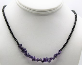 Dainty amethyst and black spinel beaded necklace, minimalist gemstone accessory, delicate women necklace, colorful plus size choker