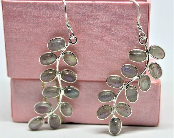 Labradorite branch dangle earrings, .925 Sterling silver drop earrings,elegant accessory,unique gift idea for her, Mother's Day gift