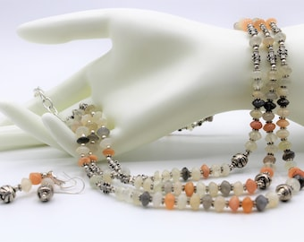 Multi color moonstone beaded necklace set, rainbow color multi strand necklace and earrings, statement necklace set, elegant gift for her