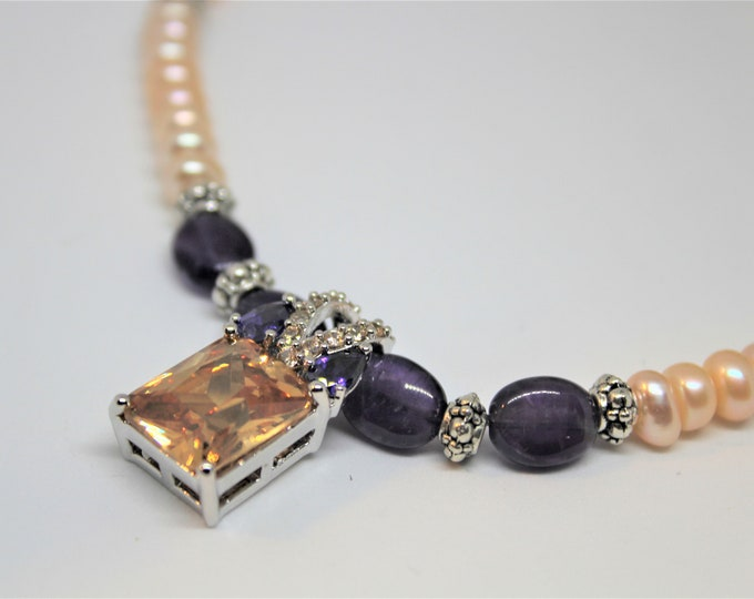 Pearl necklace, amethyst and morganite beaded necklace, unique gift for her, peach and purple necklace, delicate gem pendant necklace