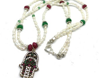 Hamsa pendant in a pearl and gemstone beaded necklace, multi strand pearl and gem accessory, evil eye protection, glamour gift for her