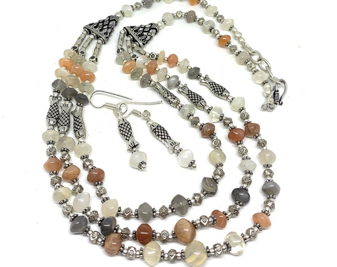Rainbow moonstone beaded necklace set, multi strand necklace and earrings, fall colors statement set, elegant accessory for women