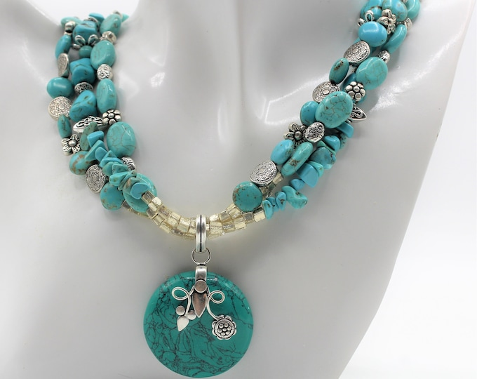 Multi strand turquoise beaded necklace, blue statement necklace, unique gift for her, turquoise and silver necklace, elegant accessory