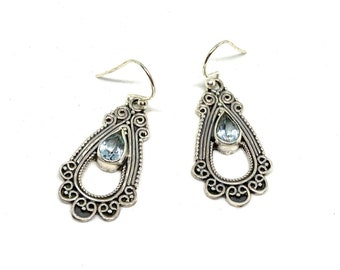 Sterling silver and gem dangle earrings, SPECIAL OFFER, Swiss blue topaz drop earrings, birthday and graduation gift, unique accessory