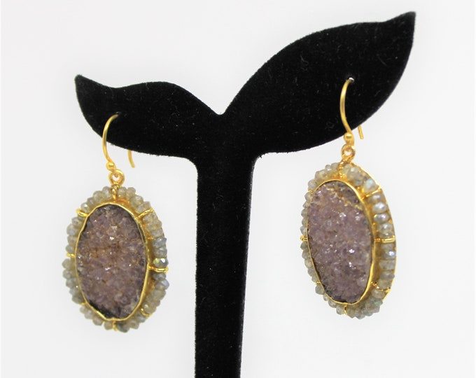 Druzy drop earrings, SPECIAL OFFER, purple dangle earrings, labradorite accents earrings, unique accessory for her, gift idea for mom
