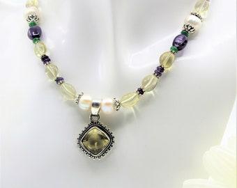 Colorful gemstone pendant necklace, delicate beaded necklace, multi gem necklace, plus size choker, unique gift idea for her