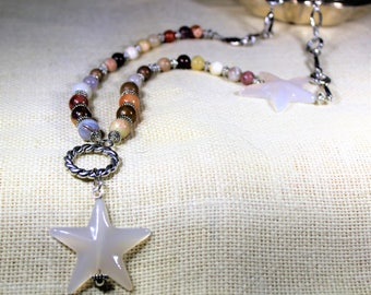 Star beaded long Y necklace, multi gem accessory, colorful necklace with star motif, unique gift idea for her