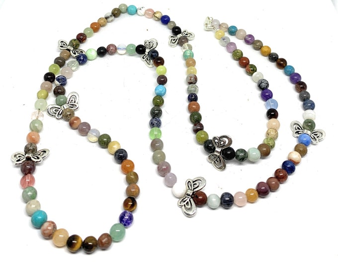 Multi gemstones beaded long necklace, multi color layering strand, silver bows accents accessory, delicate gift for her