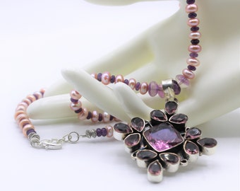 Amethyst and silver pendant necklace, pearl beaded necklace, purple statement necklace, colorful long necklace, wedding accessory