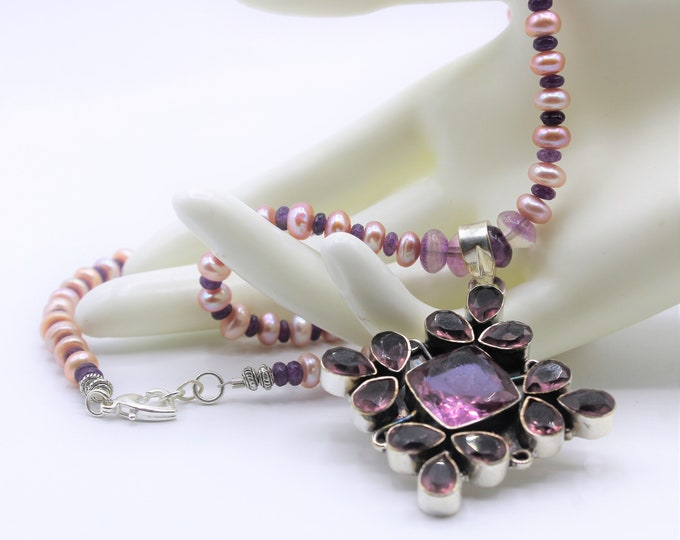 Amethyst and pearl pendant beaded necklace, purple statement necklace, colorful Sterling silver and gem long necklace, wedding accessory