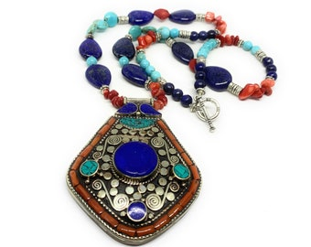 Turquoise and coral beaded pendant necklace, unique Tibetan tribal pendant necklace, colorful statement necklace, Boho chic women accessory