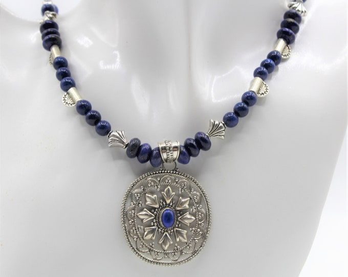 Lapis lazuli and silver beaded necklace, tribal chic pendant necklace, elegant statement accessory, gift for women