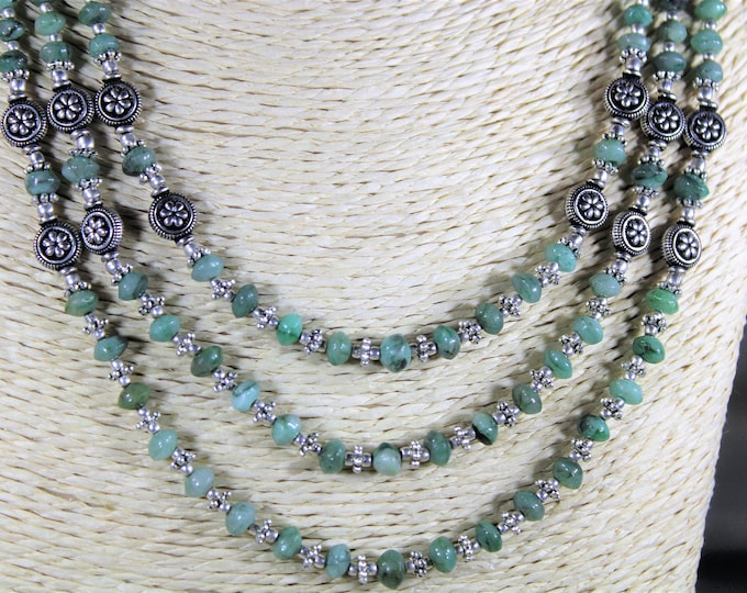 Raw emerald necklace, multi strand necklace, green necklace, beaded necklace, statement necklace, silver accents necklace, gift idea