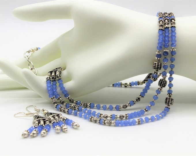 Blue chalcedony beaded necklace set, unique statement two piece set, multi strand necklace set, elegant wedding gift for women