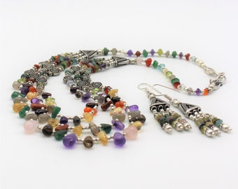 Multi gem beaded necklace set, multi strand necklace and dangle earrings, colorful statement necklace, elegant two piece set for women