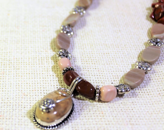 Multi color jasper beaded necklace, flower motif long necklace, pink hues and silver necklace, unique gift for women, office party accessory