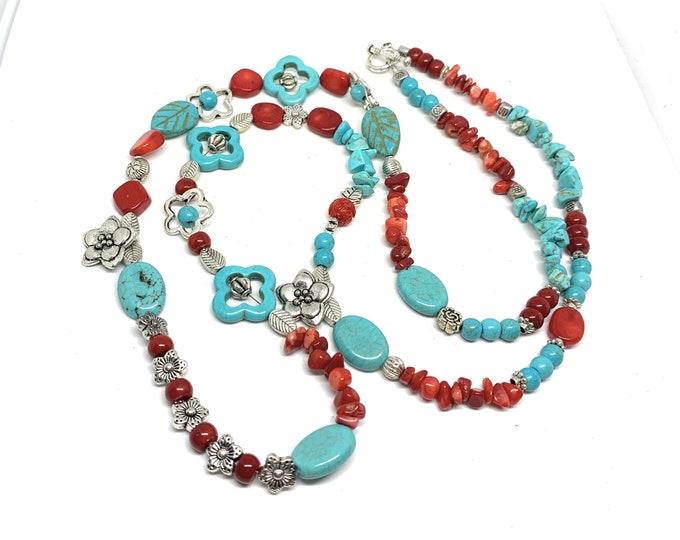 Turquoise and coral beaded long necklace, floral motif colorful necklace, long  beaded layering necklace, elegant gift for women